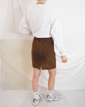 Cognac Suede Skirt - Untitled 1991