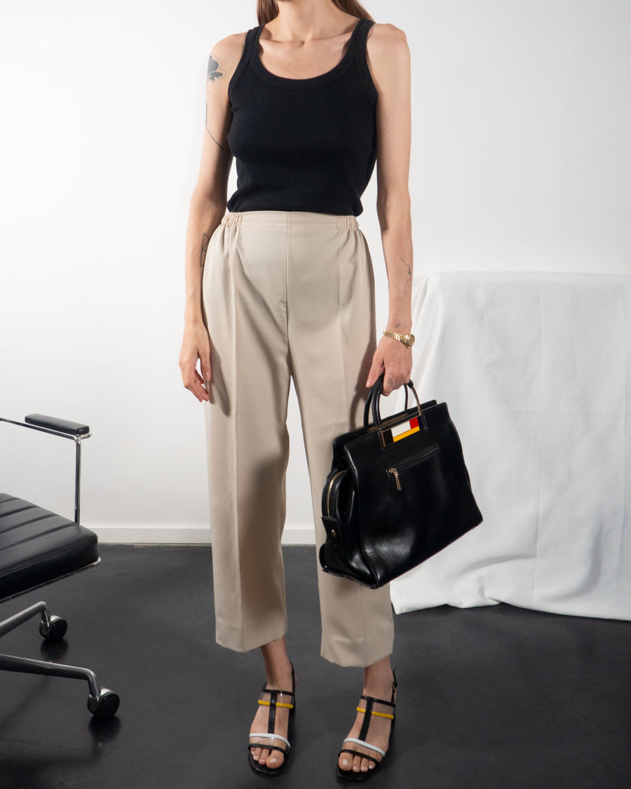 Pleated Cropped Pants