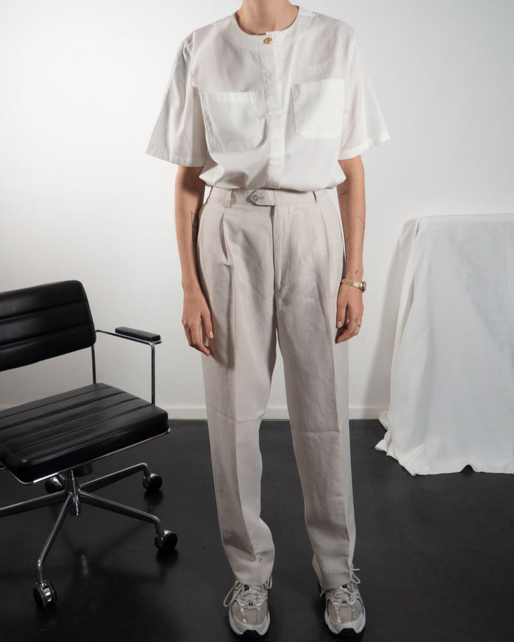 Oat Pleated Trousers