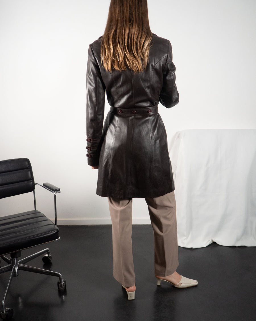 Brown Leather Trench