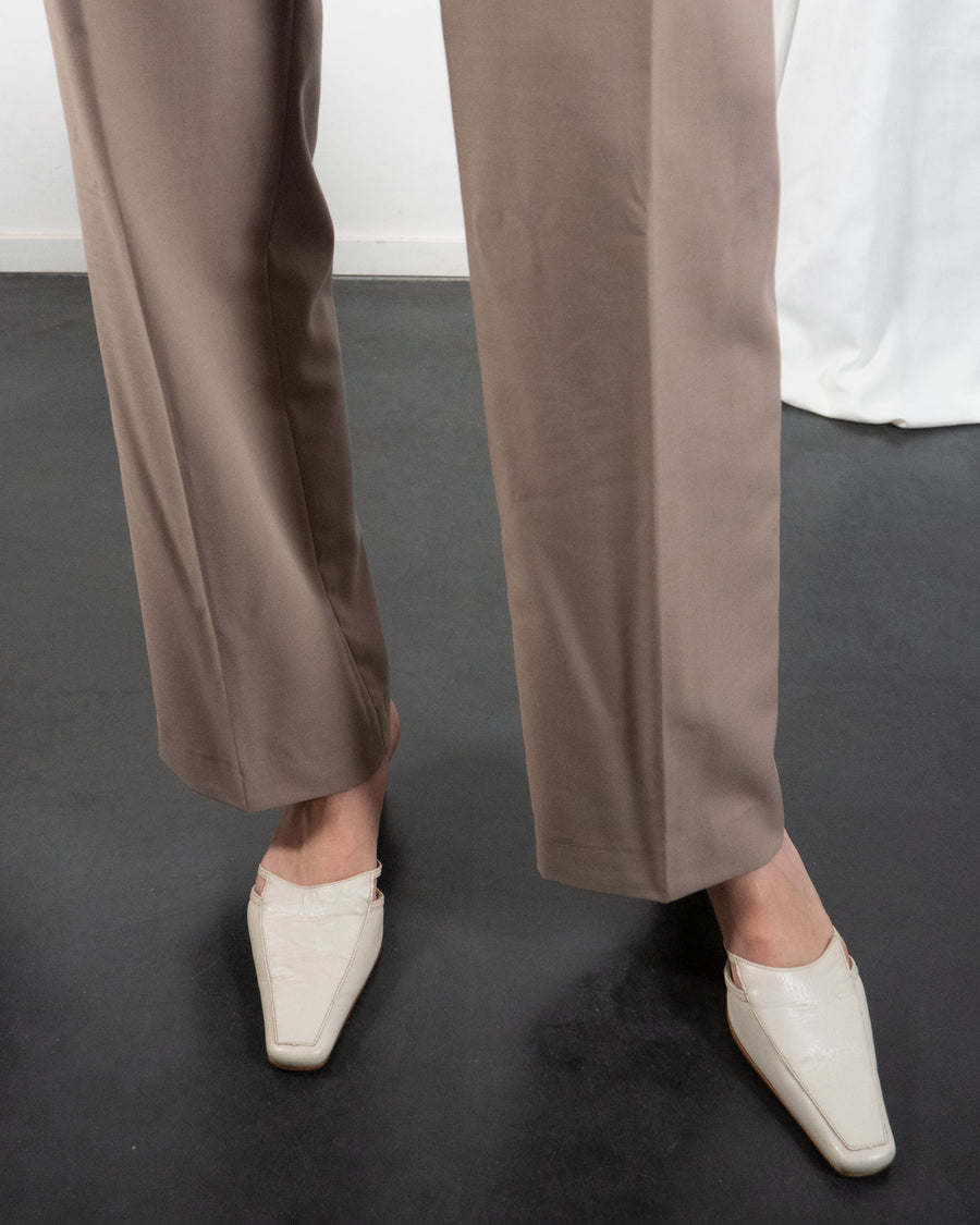 Beige Leather Mules