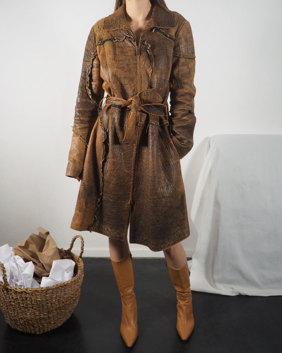 Cavalli Leather Trench