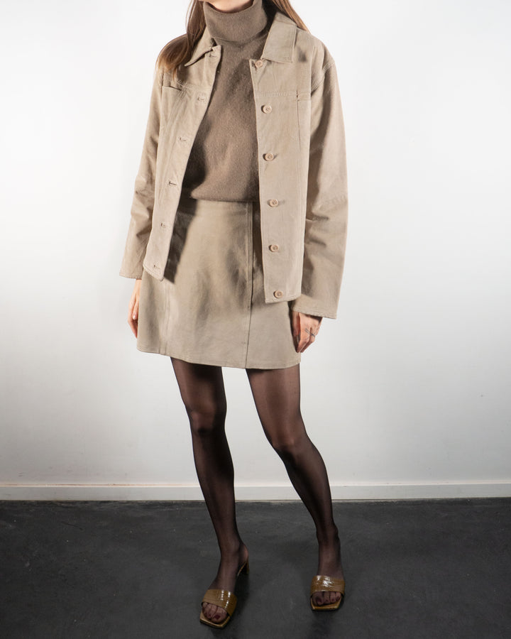Suede Skirt Suit