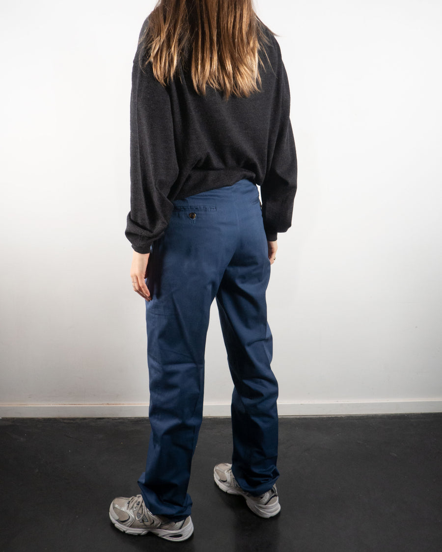 Navy Pleated Trousers
