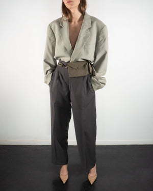 Gray Pleated Trousers