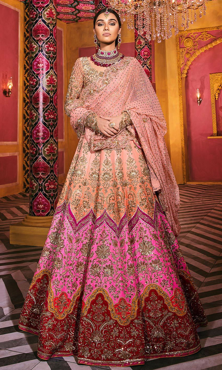 Exclusive Designer Pink and Peach Wedding Bridal Lehenga 2004