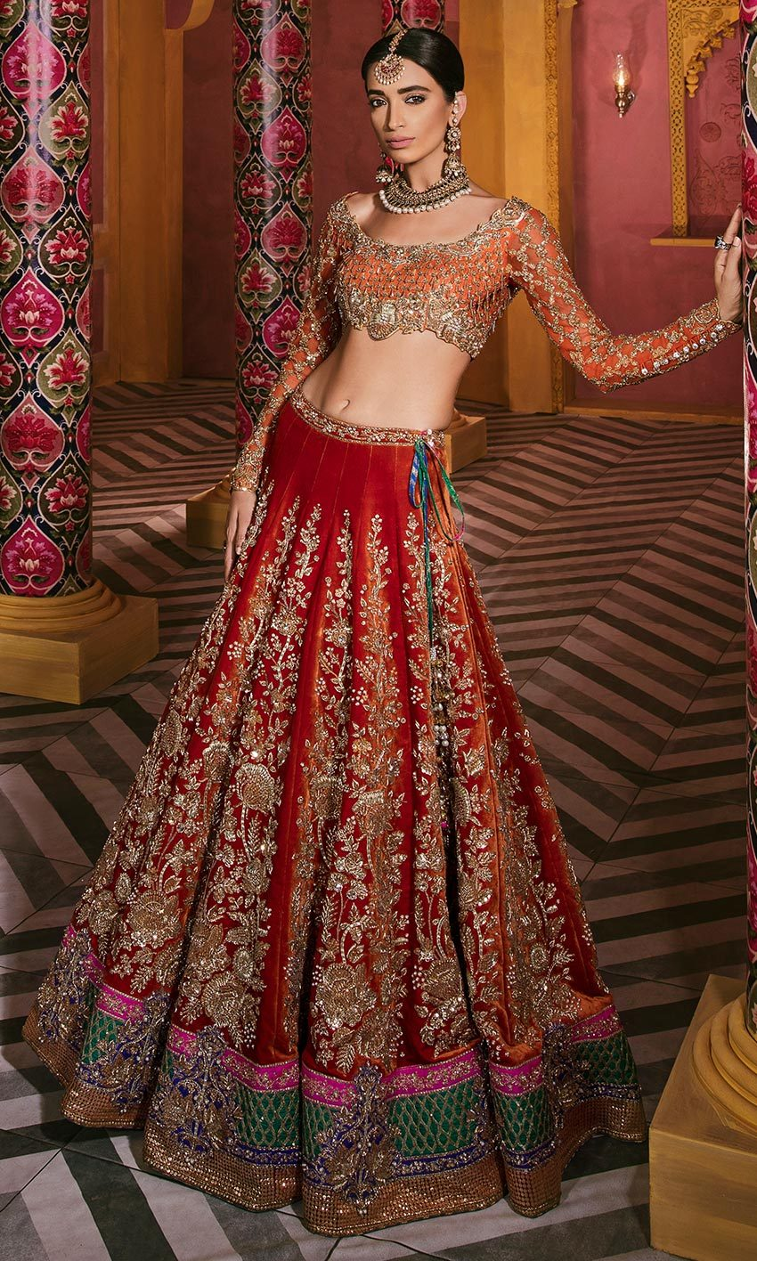 Eclusive Orange Color Wedding Lehenga 25003