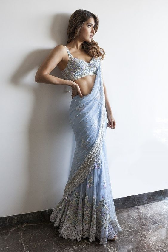 Buy Special Occasion Wear Sky Blue ChickenWork Designer Saree 25094