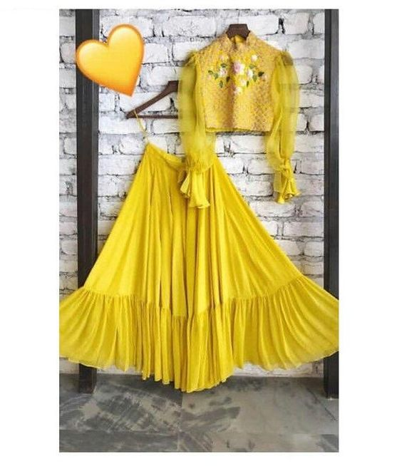 Buy Latest Styles Bollywood Trends Indian Wedding Haldi Lehenga Choli 25065