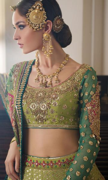 Exclusive Trendy Green Color Wedding lehenga 20489