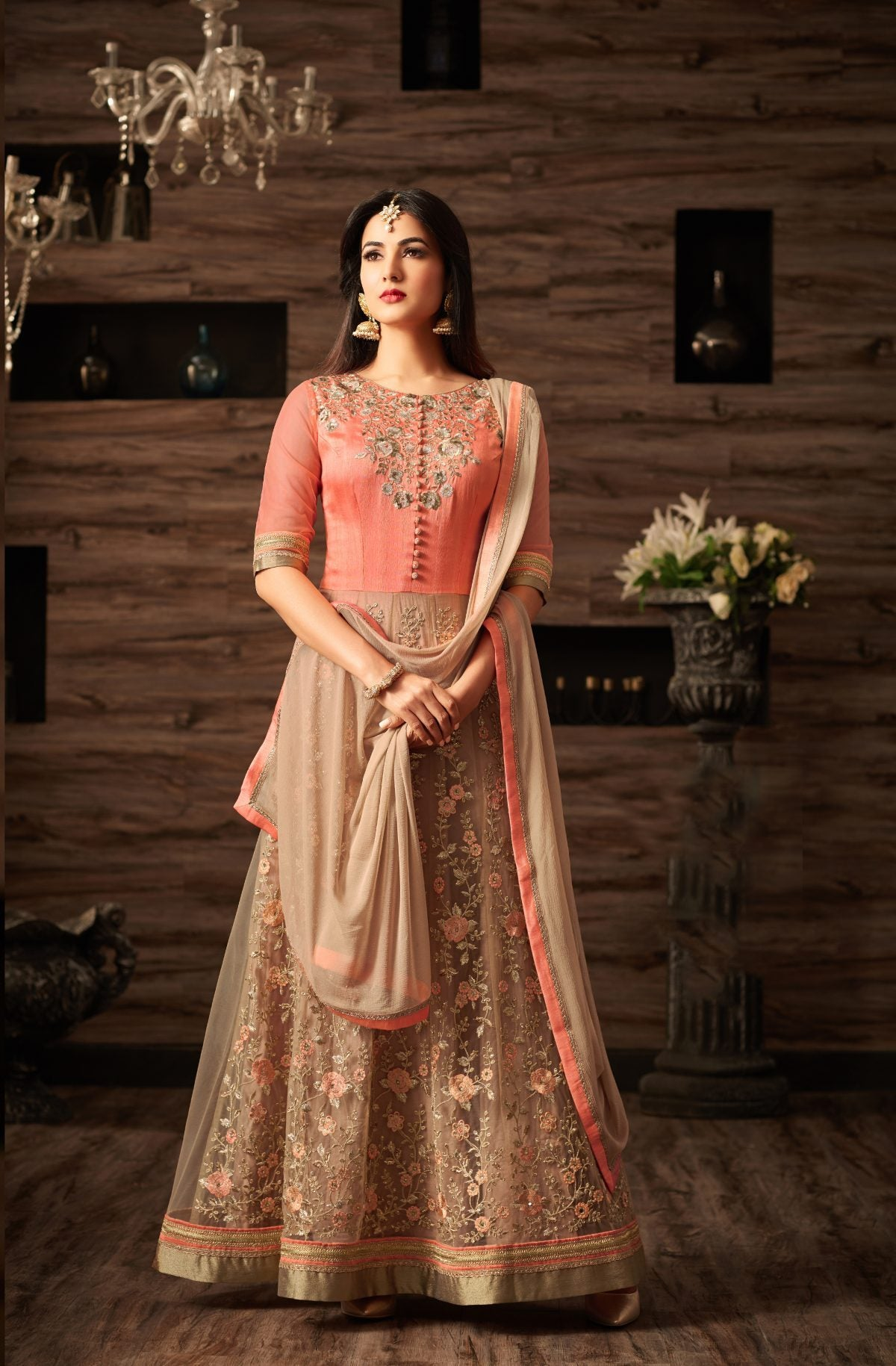 Latest Trendy Satin Georgette Function Wear Salwar Kameez 30028