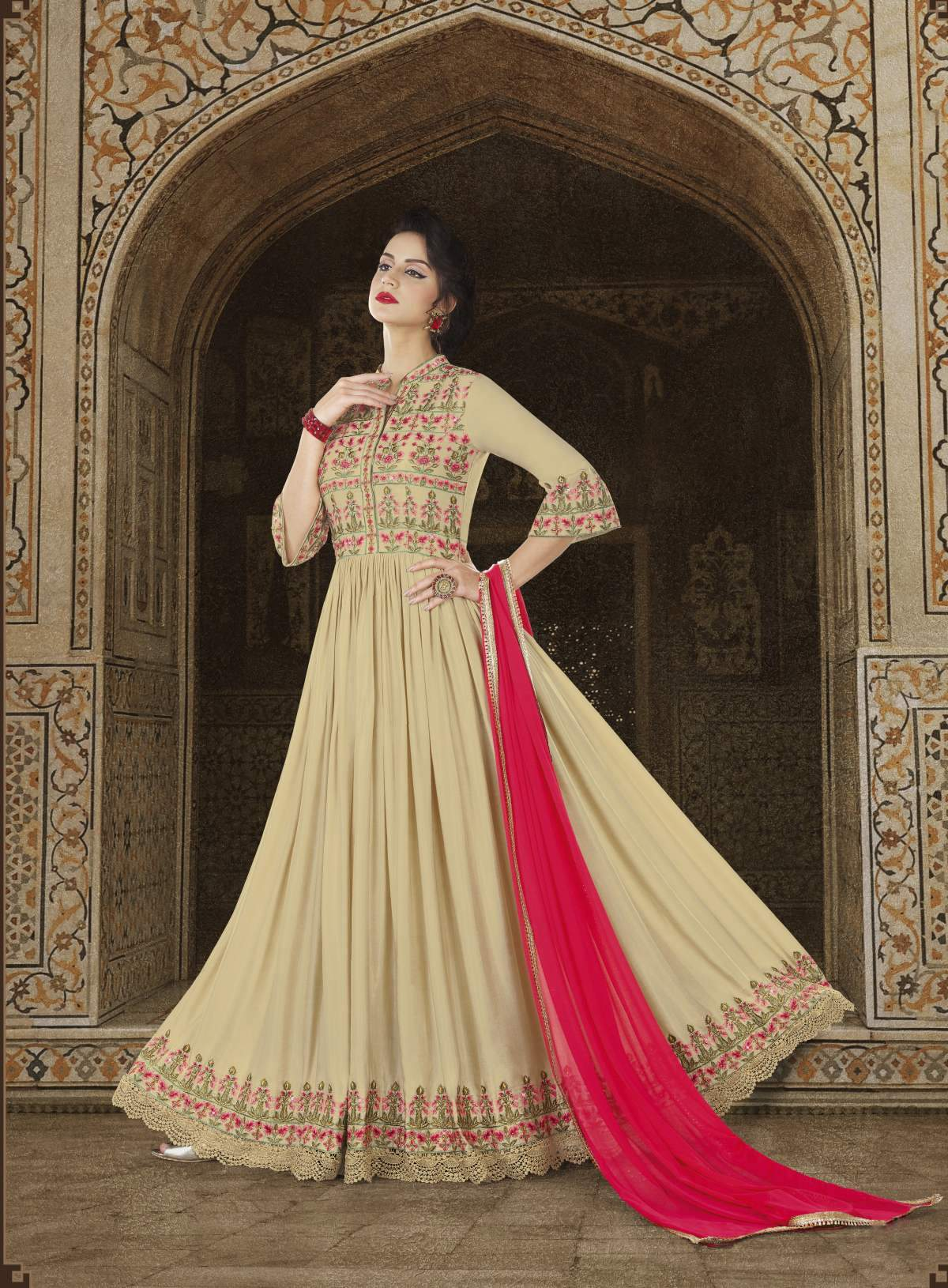 Buy Beige Rangoli Silk Reception Wear Charming Trendy Salwar-kameez 30148
