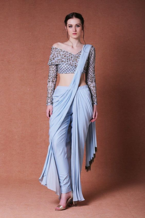 Buy Latest Wedding Cocktail Party Designer Blue Drapping Saree 25080