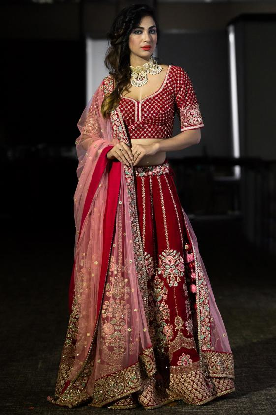Exclusive Latest Bridal Red Cherry Color Embrodery Work Lehenga 20480
