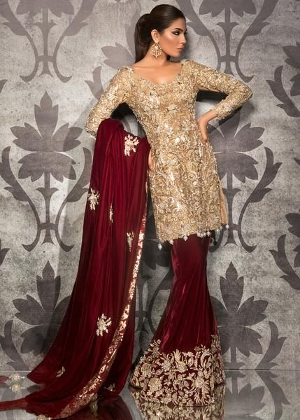 Buy Red Golden Engagment Stlyes Bridal Salwar Plazoo 25027