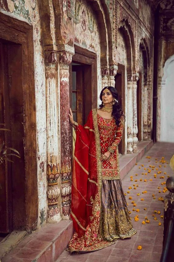 Buy Red Pakistani Wedding Party Reception Wear Designer Salwar Suit 25055