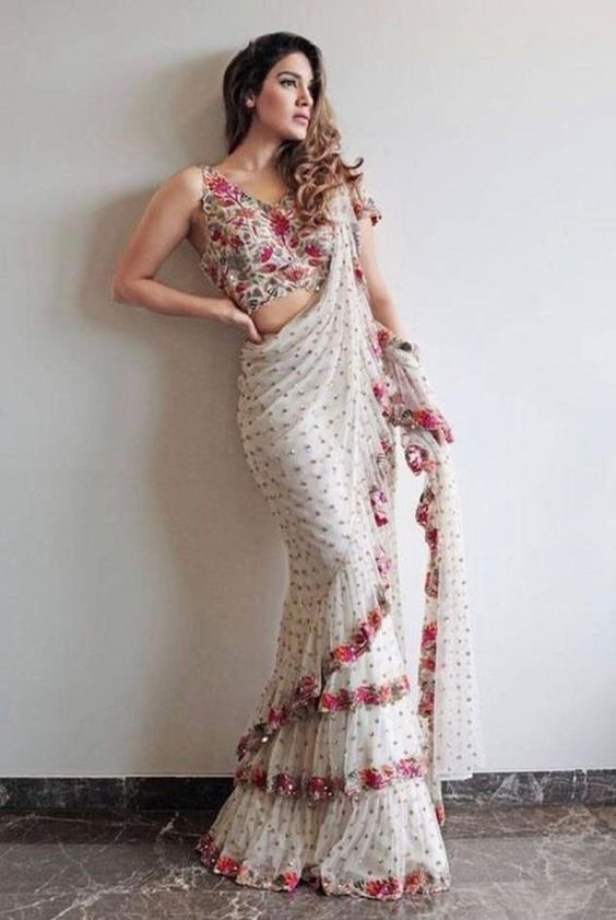 Shop Fully Designer Drapping Styles Cocktail Party White Rose Saree 25092
