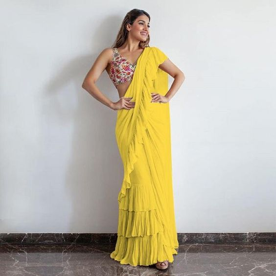 Buy Wedding Party Designer Bollywood yellow Saree 25091