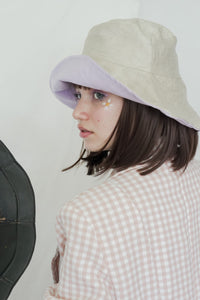 BOB x HANOM Champagne CRÈME BRÛLÉE Two-Sided Wide Bucket Hat