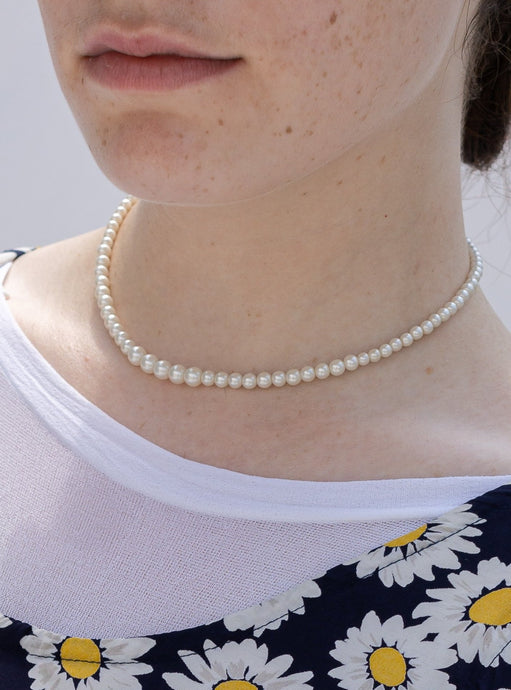 Vintage 80's Real Pearl Choker Necklace