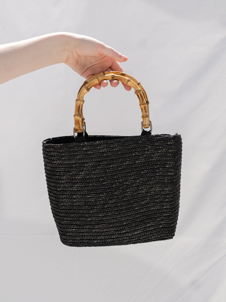 Vintage 90's Black Straw Bag