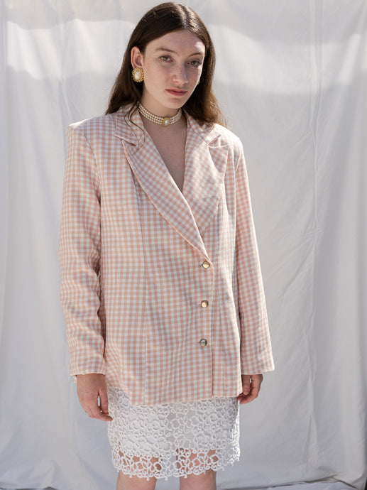 Vintage 90's Baby Pink Gingham Full Cut Blazer (M)