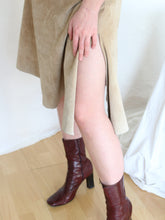 Load image into Gallery viewer, VINTAGE 1990'S BEIGE PALETTE ASYMMETRICAL SUEDE MIDI SKIRT