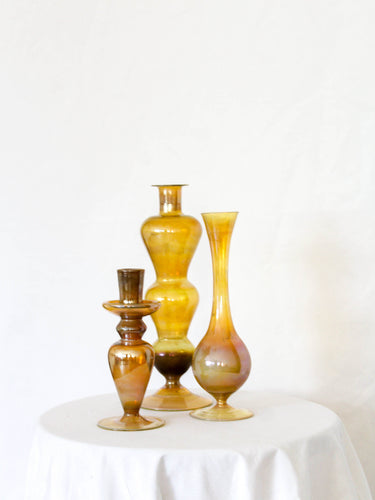 Vintage Clear Mustard Glass Vases Set