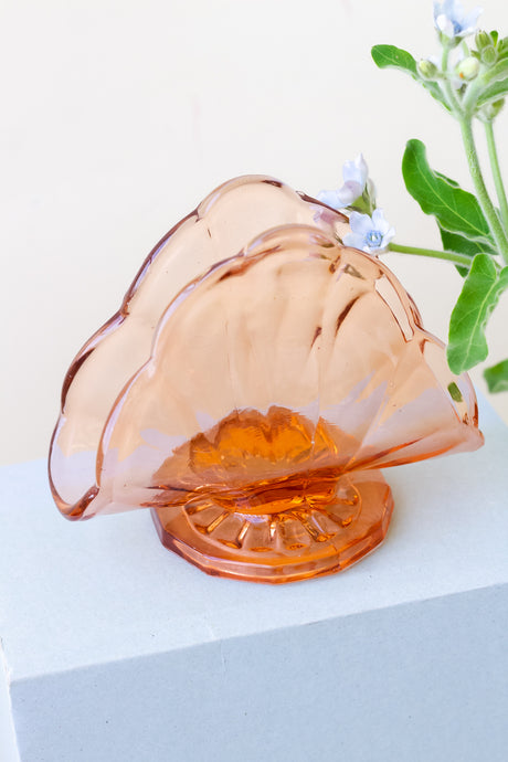 Vintage 40's Salmon Glass Napkin Holder