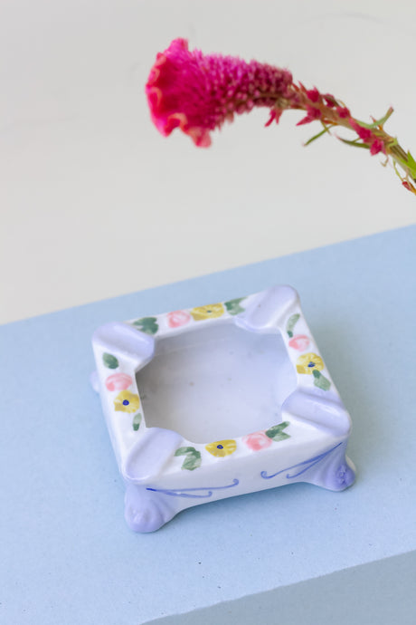 Vintage 80's Floral Ceramic Ashtray / Jewelry Plate