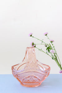 VINTAGE 40'S PASTEL PINK GLASS BASKET BOWL