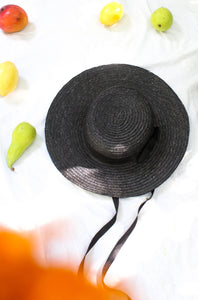 Vintage Early 20th Century Black Boater Style Straw Hat