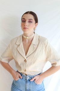 VINTAGE FRENCH CURTAIN BLAZER BLOUSE