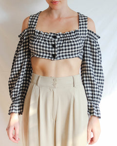 VINTAGE 1990'S REWORKED GINGHAM 'BALCONY' CROP TOP