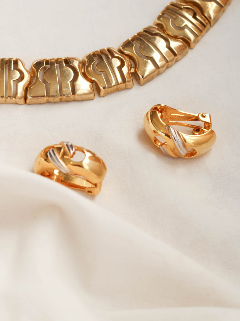 Vintage 90's The Perfect Pair Clip On Golden Earrings