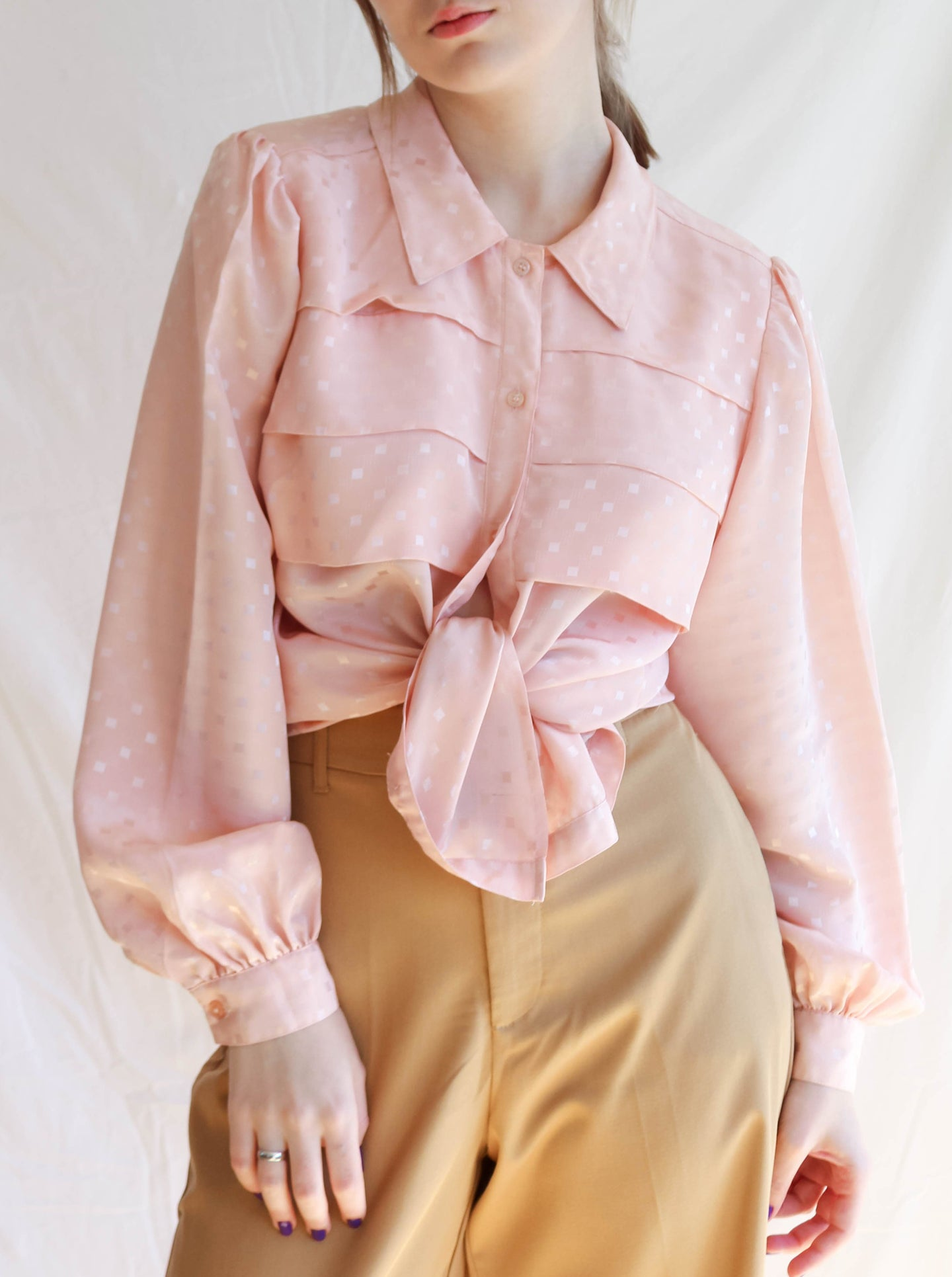 Vintage 80's Tea Time Peachy Blouse (M)