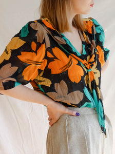 Vintage 60's Orange Is My Color Handmade Blouse (L)