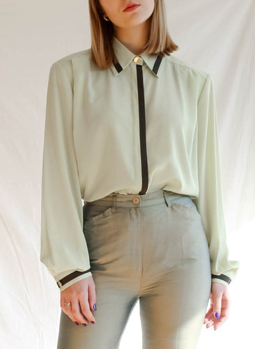 Vintage 80's French Courtyard Pistachio Blouse (L)