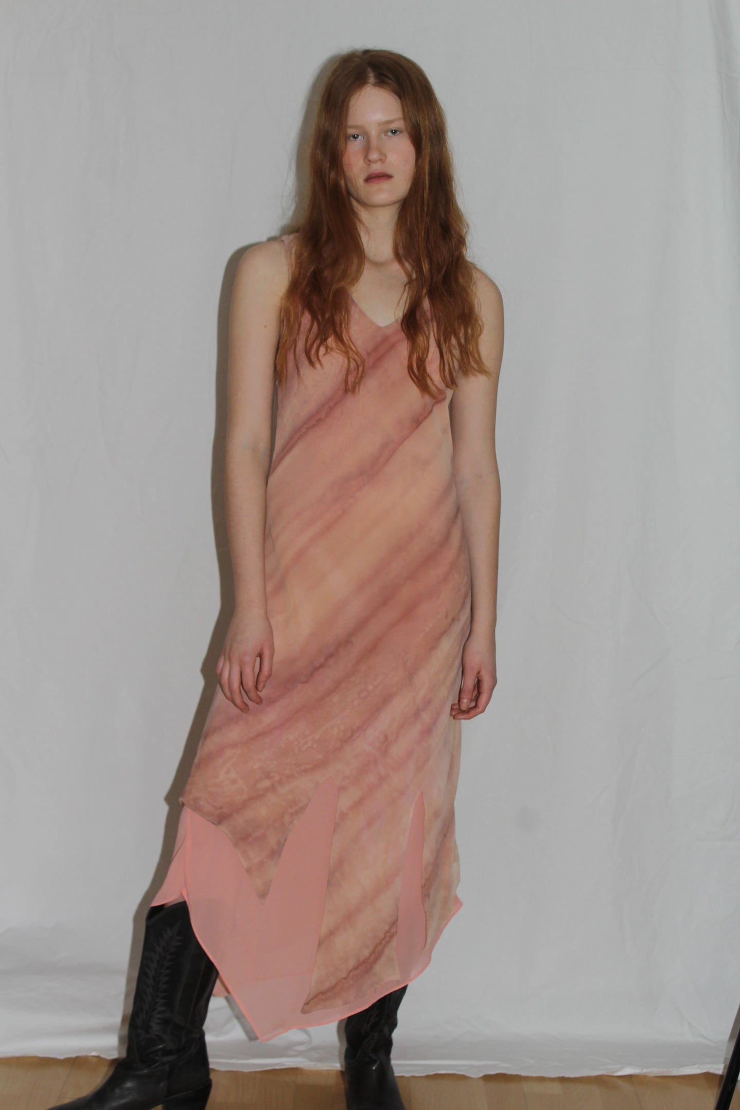 Vintage Y2K Pink Lemonade Marble Asymmetrical Midi Dress (S)