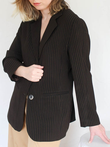 Vintage 90's Stripes And Hypes Dark Brown Blazer (S)