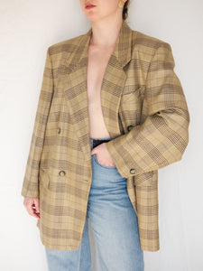 VINTAGE 90׳S ENQUÊTEUR CHECKED DOUBLE BREASTED BLAZER