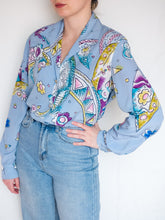 Load image into Gallery viewer, Vintage 80's Louis Féraud Sky Blue Blouse (M)