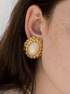 Vintage 80's Oversized Miss Sunshine Faux Pearl Earrings