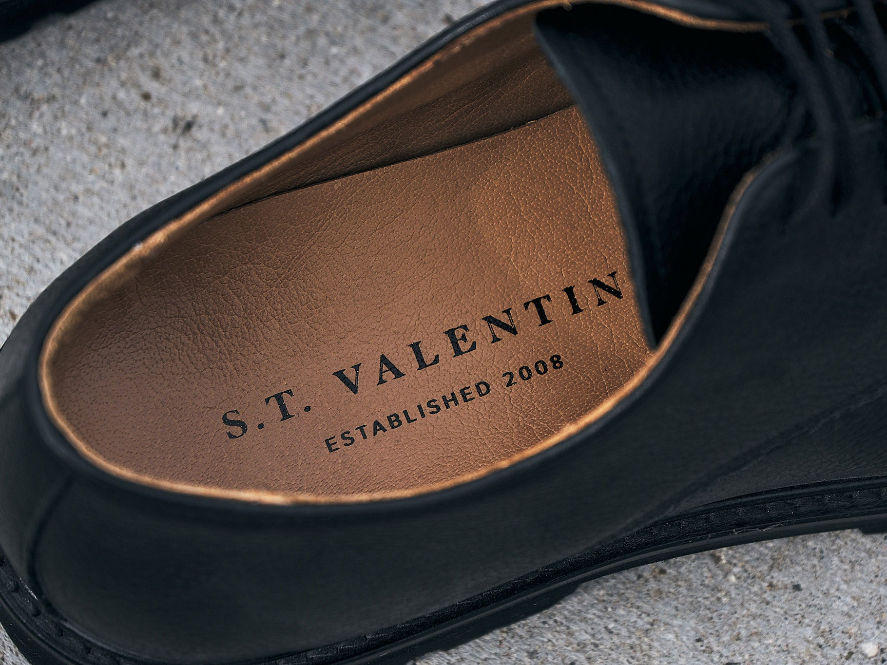 S.T. VALENTIN Lightweight Derby Shoe i Sort læder
