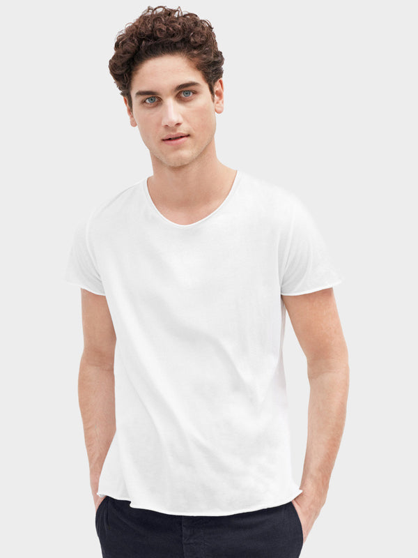 Roll Neck Tee | White