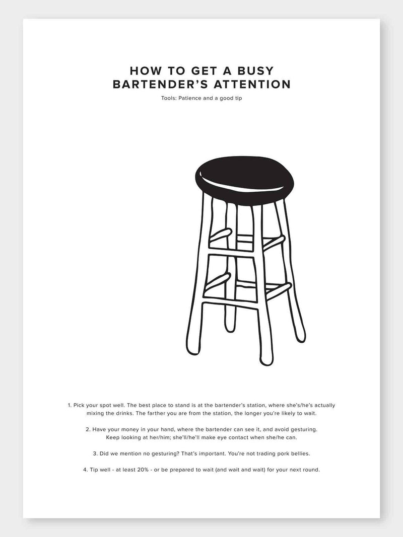 How To Get A Busy Bartenders Attention Poster