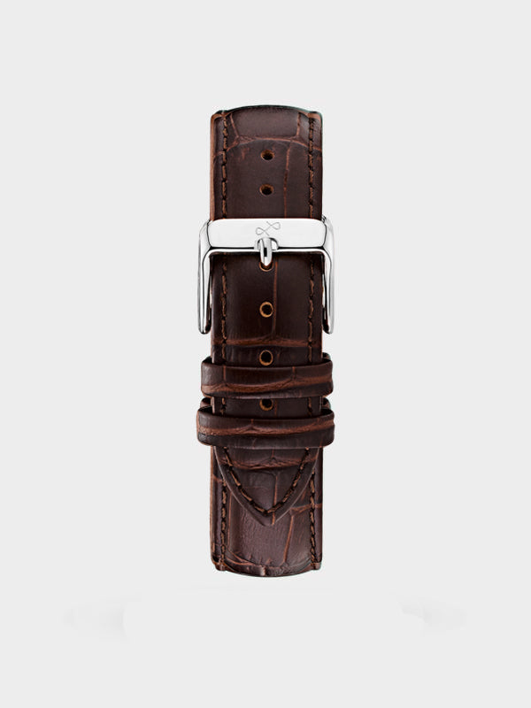 Pin Buckle Strap | Dark Brown Croco Leather