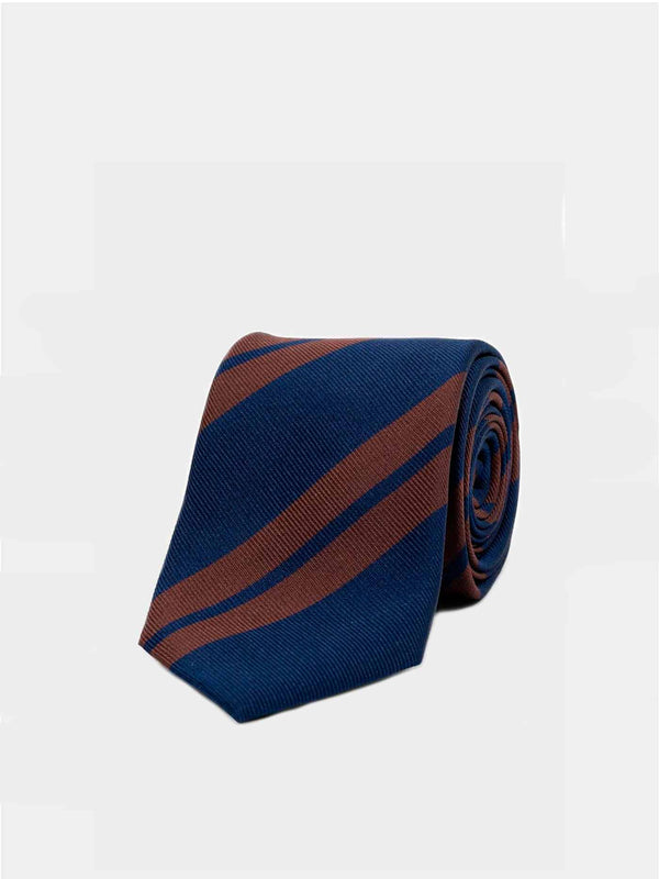 Double Navy Brown Striped Silk Tie