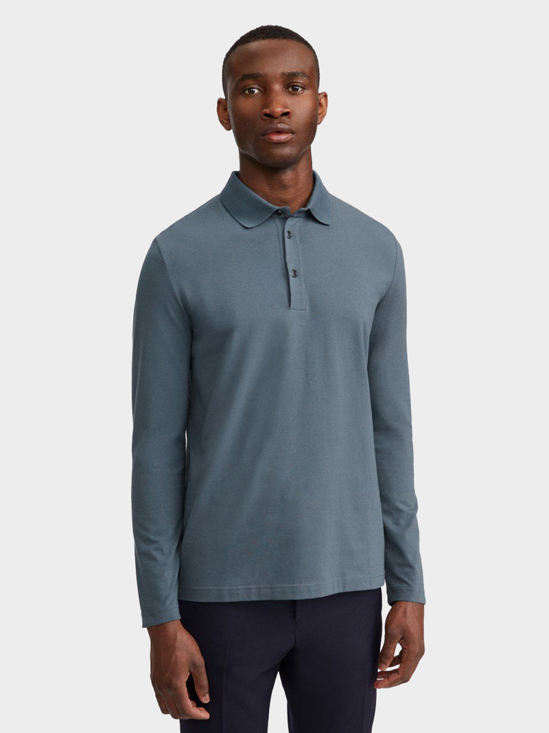 Luke Lycra Polo Shirt | Blue Grey