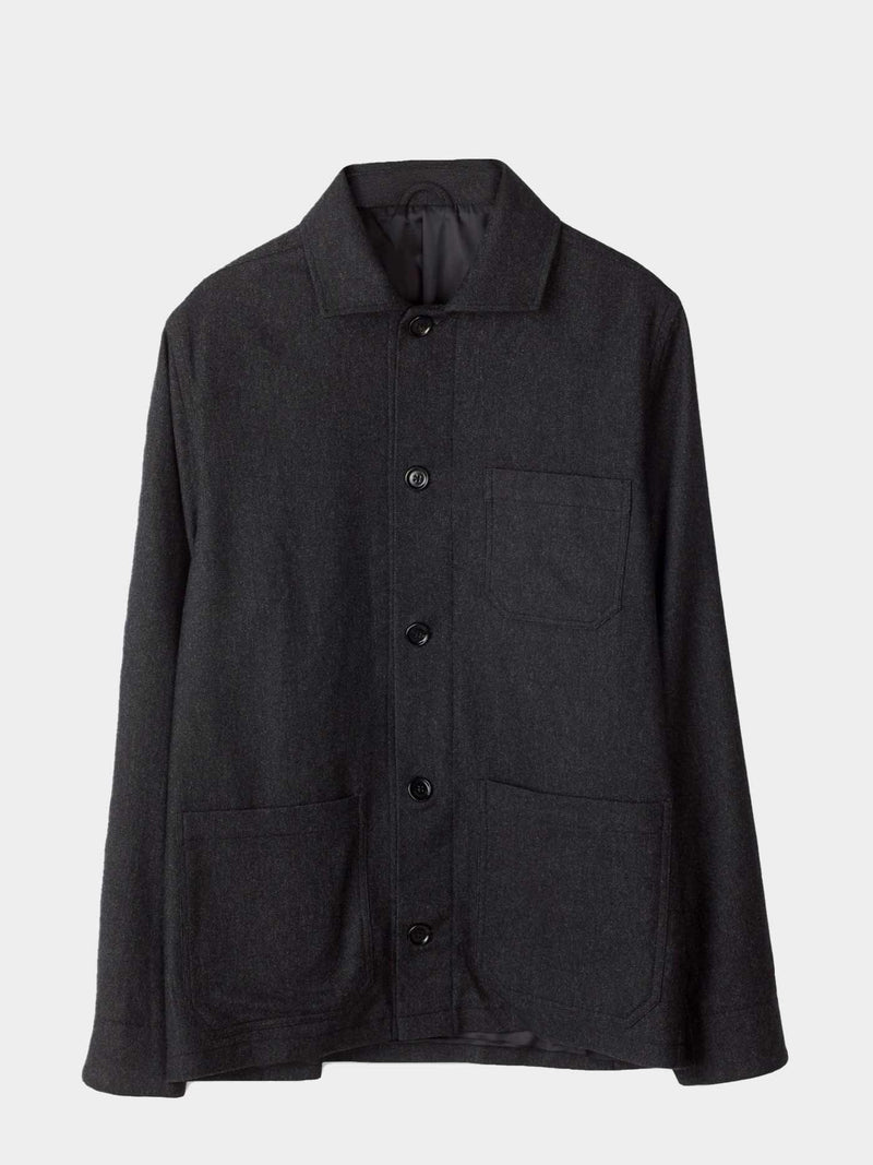 Louis Flannel Jacket | Dark Grey Melange